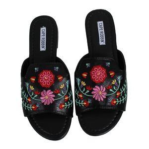 Shoes - Black Flower Embroidered Open Toe Slip On Sandal
